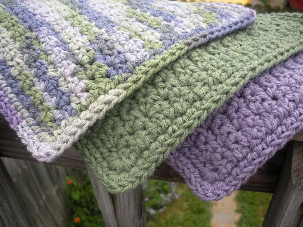 Crochet Cotton Washcloth Set (Purple/Green Mix) - Click to Enlarge Photo