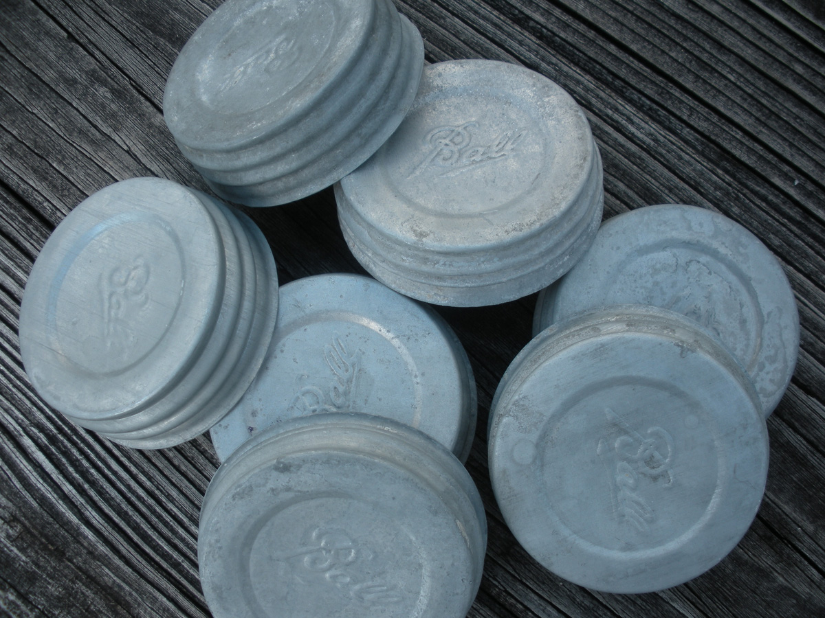 Vintage Ball Zinc Mason Jar Lids - Click to Enlarge Photo